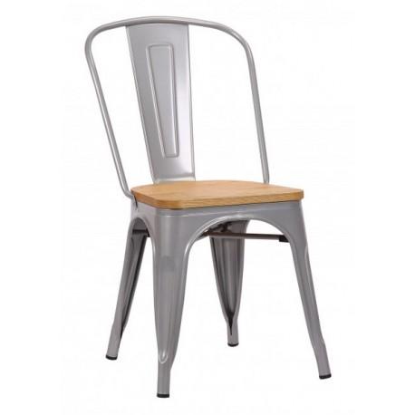 Chaise Victoria acier gris clair et orme clair