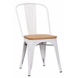 Chaise Victoria acier blanc assise orme clair