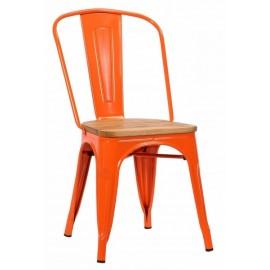 Chaise Victoria acier de teinte orange assise orme clair