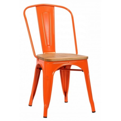 Chaise Victoria acier de teinte orange assise orme clair