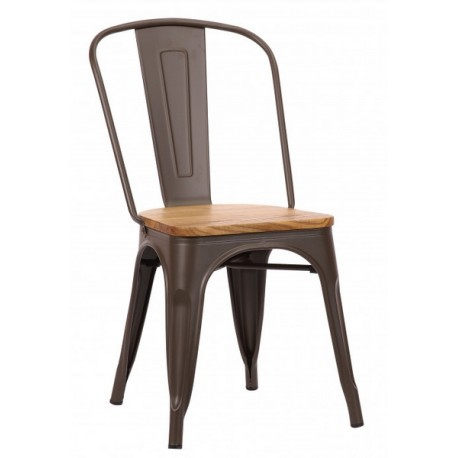 Chaise Victoria acier couleur métal et assise orme clair