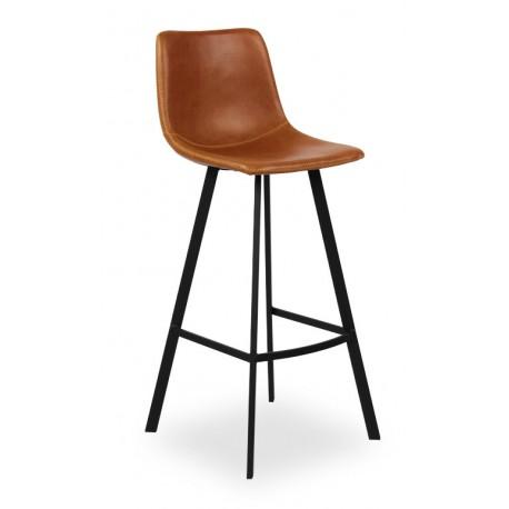 Chaise haute teinte cognac pour îlot de cuisine Ozan