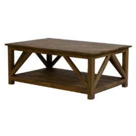 table basse croisillons GM manguier massif naturel - Jeanne
