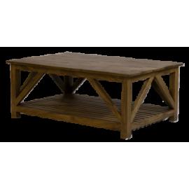 table basse croisillons PM manguier massif naturel - Jeanne
