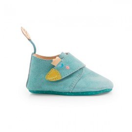 Chaussons cuir bleu 12/18M - Le voyage d'Olga Moulin Roty