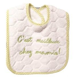 Bavoir C'est meilleur chez Mamy - Coton Blanc