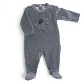 Pyjama 6m velours gris tête de chat - Moulin Roty