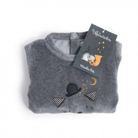 Pyjama 12m velours gris tête de chat - Moulin Roty