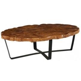 Table basse ovale teck massif recyclé - Palaos Casita