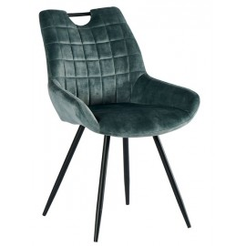 Chaise tissu bleu pétrole pieds métal - Dina Casita
