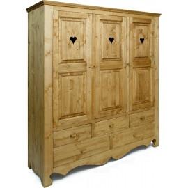Armoire 3 portes 5 tiroirs - Cœur de Montagne