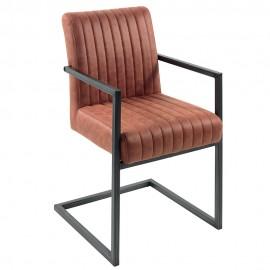 Chaise accoudoir microfibre havane - Lenon Casita