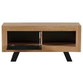 Meuble TV 1 porte 1 niche chêne naturel - Davos Casita