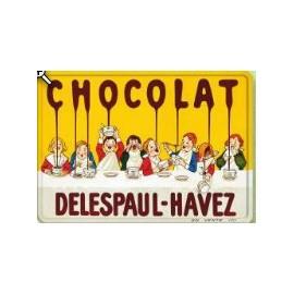 PLAQUE METAL 40x30 CM CHOCOLAT DELESPAUL